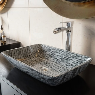 VIGO Rectangular Titanium Glass Vessel Bathroom Sink
