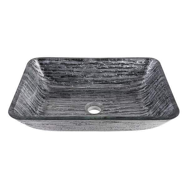 Shop VIGO Rectangular Titanium Glass Vessel Bathroom Sink - On Sale ...