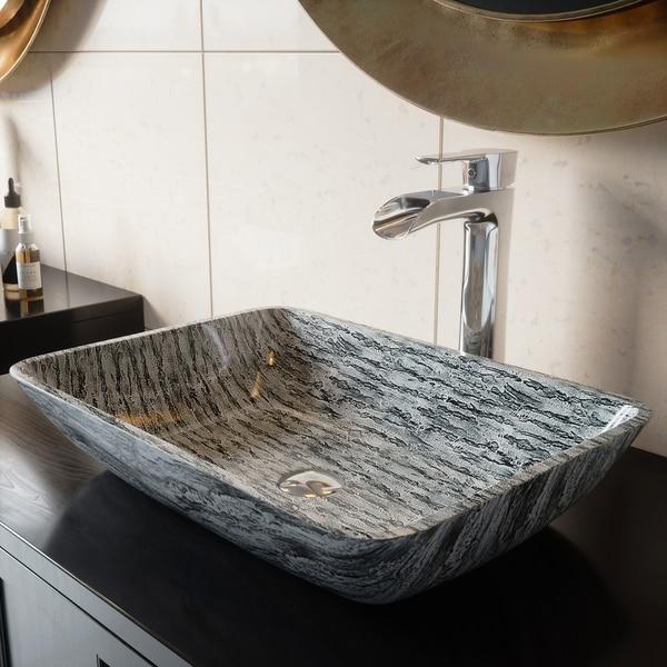VIGO Silver and Black Rectangular Vessel Bathroom Sink
