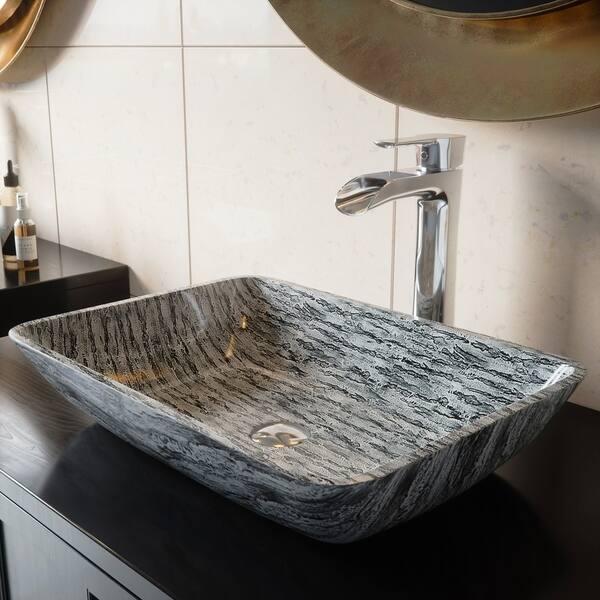 Magnificent Shop Vigo Silver And Black Rectangular Vessel Bathroom Sink Download Free Architecture Designs Photstoregrimeyleaguecom