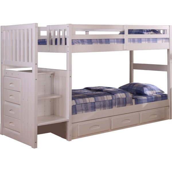Shop Cambridge White Wood Twin Over Twin Staircase Bunk Bed With