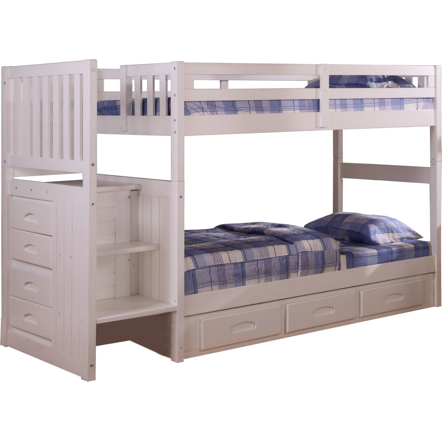 Cambridge White Wood Twin-Over-Twin Staircase Bunk Bed wi...