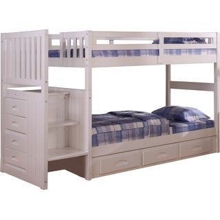 Cambridge White Wood Twin-Over-Twin Staircase Bunk Bed with Storage Drawers