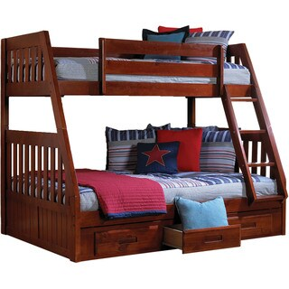 Cambridge Stanford Merlot Finish Wood Twin over Full Bunk Bed with Storage