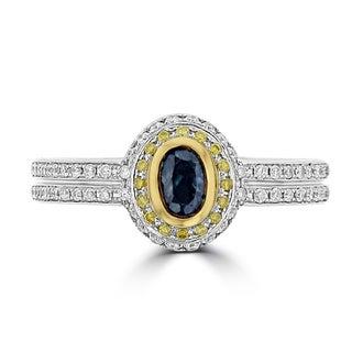 La Vita Vital 18K White Gold, Fine Color Changing Brazilian Alexandrite 0.54cts & Diamond 0.39cts TDW (SI1-VS, G-H) Ring - Green
