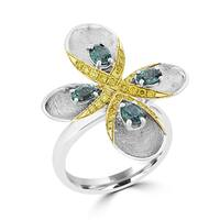La Vita Vital 18K Two Tone Gold, Fine Color Changing Brazilian Alexandrite 0.97cts & Diamond 0.40cts TDW (SI1-VS, G-H) Ring