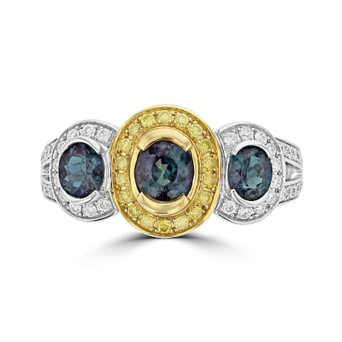 La Vita Vital 18K Two Tone Gold, Fine Color Changing Brazilian Alexandrite 1.51cts & Diamond 0.54cts TDW (SI1-VS, G-H) Ring