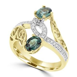 La Vita Vital 18K Yellow Gold, Fine Brazilian Alexandrite 0.52cts & Diamond 0.13cts TDW (SI1-VS, G-H) Ring