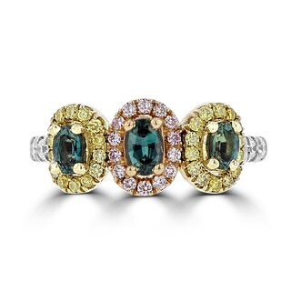 La Vita Vital 18K Gold, Brazilian Alexandrite 0.76cts & Diamond 0.64cts TDW (SI1-VS, G-H) Ring (5 options available)