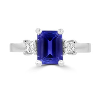La Vita Vital 18K White Gold Emerald cut Tanzanite 1.69cts and Diamond 0.25ct TDW (SI1-VS, G-H) Ring - Purple