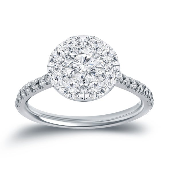Auriya 14k White Gold 1 1/6ct TDW Round Diamond Halo Engagement Ring