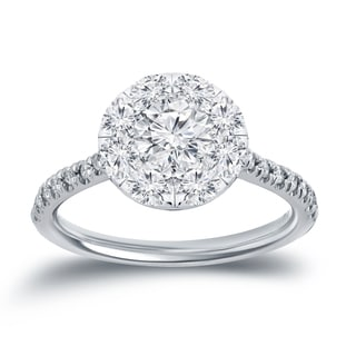 Auriya 14k White Gold 1 1/6ct TDW Diamond Halo Cluster Engagement Ring