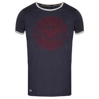 Armani Men's Blue Cotton Logo T-shirt