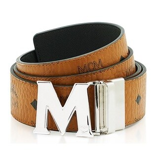 MCM Men's Claus Reversible Cognac/Silver Buckle Belt