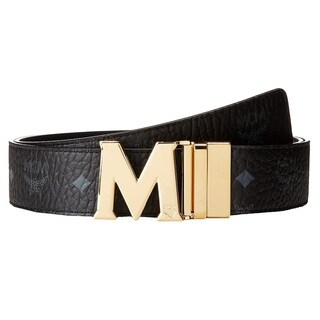 MCM Claus Reversible Black/Gold Buckle Belt