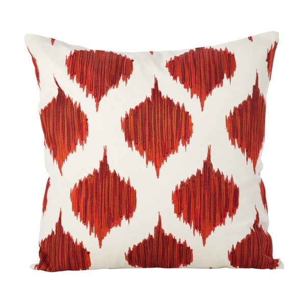 Stitched Ikat Geometric Design Cotton Down Filled Throw Pillow