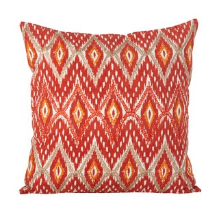Stitched Ikat Design Cotton Down Filled Throw Pillow
