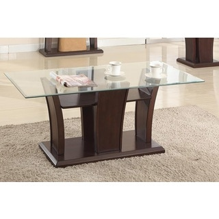 Brassex Ambrose Glass Coffee Table with Cherry Wood Base