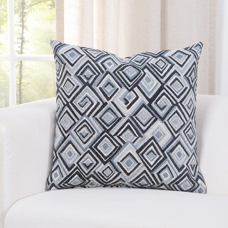 SIScovers Diamondhead White/Blue Geometric Accent Throw Pillow