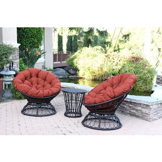 Jeco Papasan Espresso Wicker Swivel Chair and Table Set with Cushions