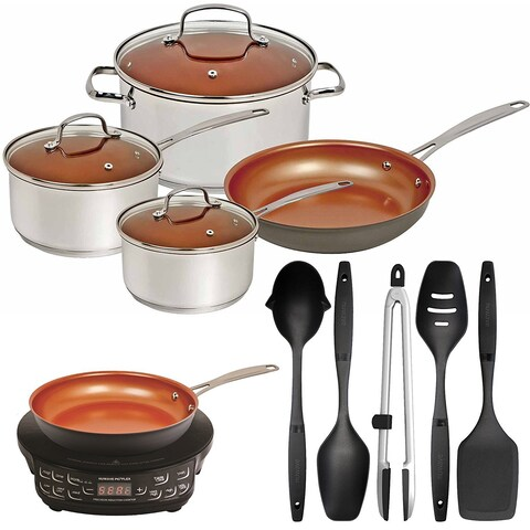 Nuwave Induction Cook-Top w/ 9'' Fry Pan & Ceramic Non-Stick 7pc Cookware Bundle