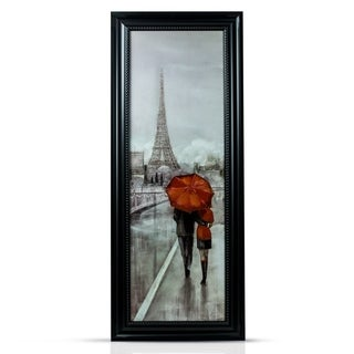 American Art Decor Paris Eiffel Tower Romantic Stroll Framed Canvas Painting Print Wall Art