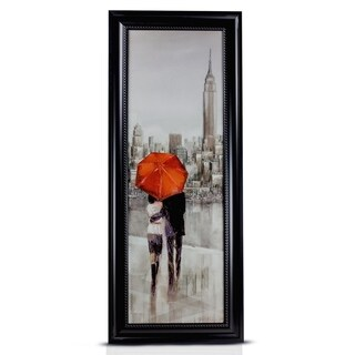 New York Romantic Stroll Framed Painting Print on Canvas Wall Art