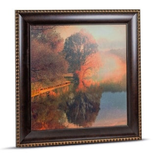 Impressionism Soft Forest Seasonal Lakeside Landscape Framed Wall Art Painting Print on Canvas