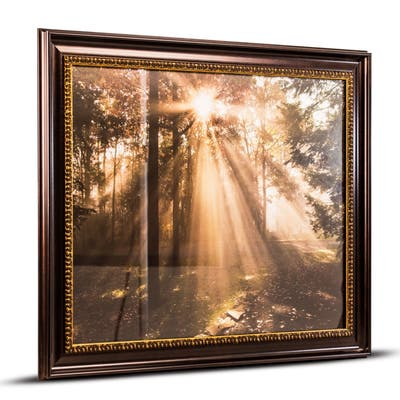 American Art Decor Forest Sunrise Framed Canvas Photo Print Wall Art
