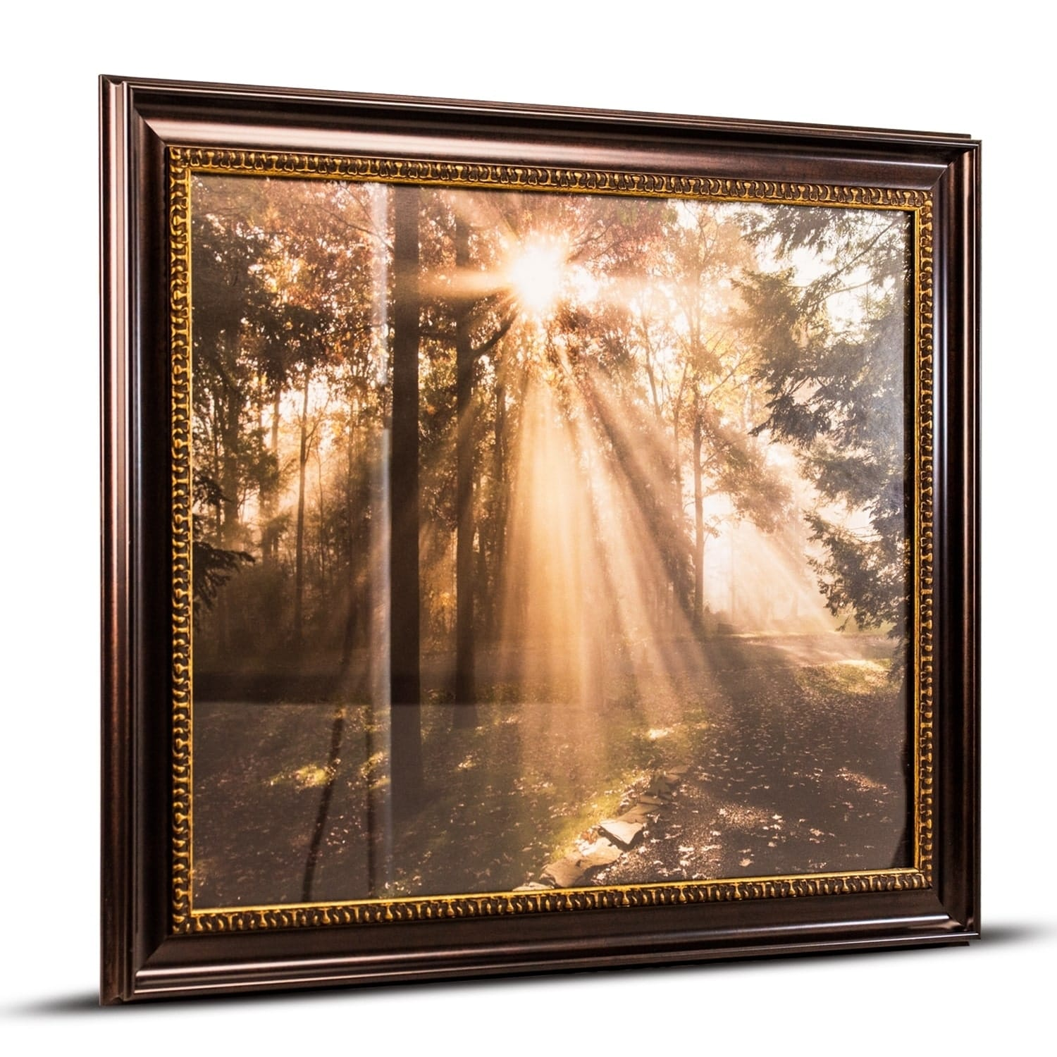 American art decor forest sunrise framed canvas photo print wall art