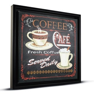Fresh Coffee Caf Sign Framed Wall Art Painting Print on Canvas