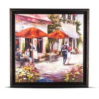 Impressionism Caffe di Carla Framed Wall Art Painting Print on Wrapped Canvas