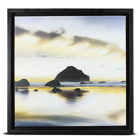 American Art Decor Ocean Sunrise Sunset on the Coast Framed Wall Art Photo Print on Canvas
