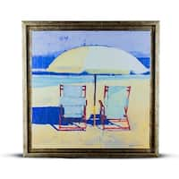 Impressionism Beach Chairs Day at the Beach for Two Framed Wall Art Painting Print on Wrapped Canvas