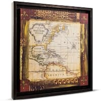 Old World Map Framed Painting Print on Canvas