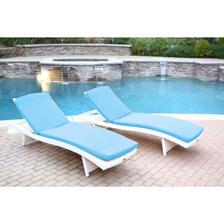 White Wicker Adjustable Chaise Lounger with Cushions (Set of 2)