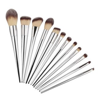 Nylon Bristle 12-piece Silver Makeup Brush Set