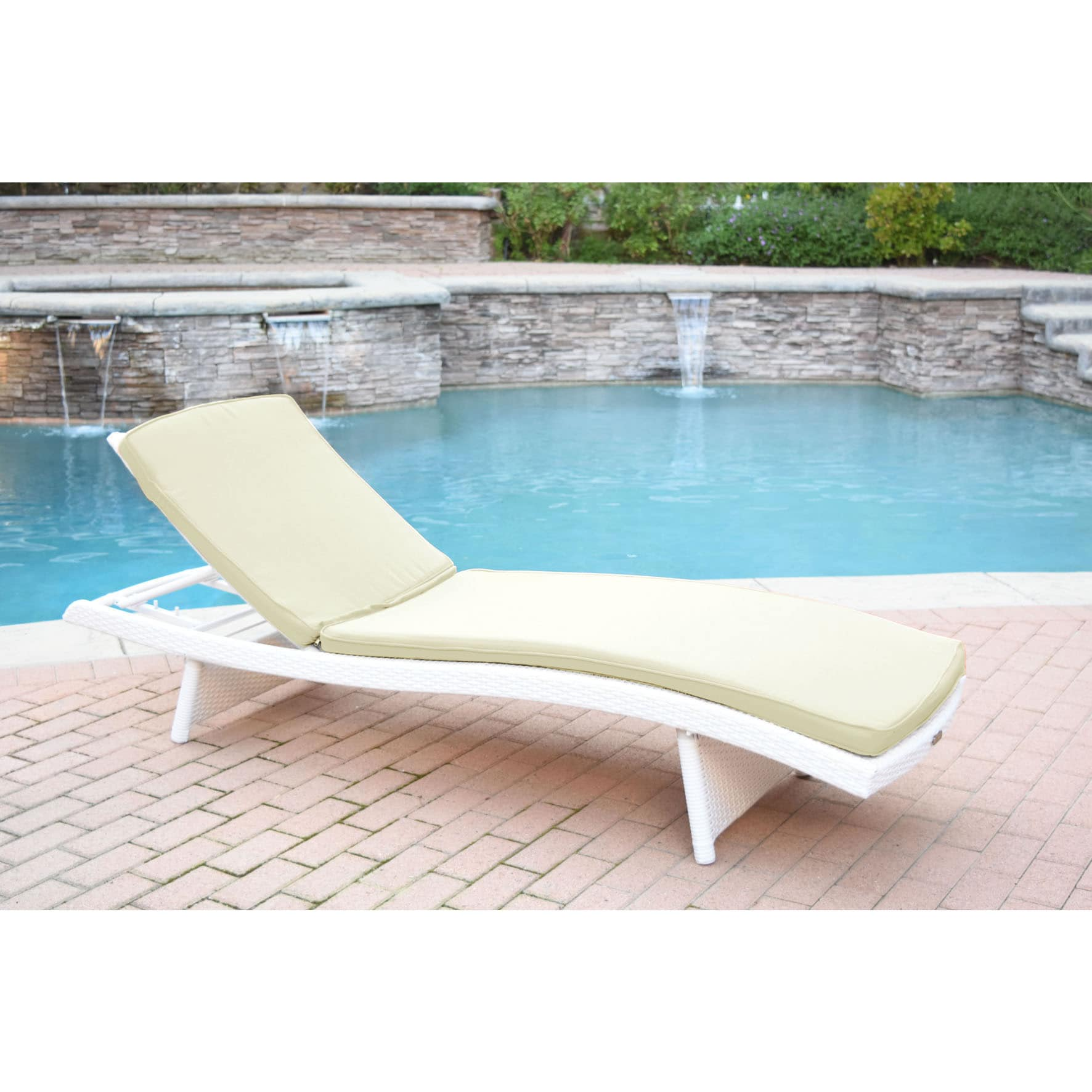 Jeco White Wicker Adjustable Chaise Lounger with Cushions...