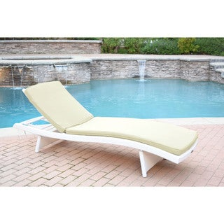 White Wicker Adjustable Chaise Lounger with Cushions