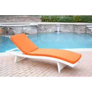 White Wicker Adjustable Chaise Lounger with Cushions (Option: Orange)