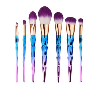 Nylon Bristle 7-piece Diamond Pattern Makeup Brush Set