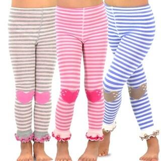 TeeHee Kids Girls Footless Tights Ruffle Bottom 3 Pk (Stripe with Heart)