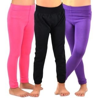 TeeHee Kids Girls Fleece Inner Brushed Leggings 3 Pack (Pink_Purple_Black)