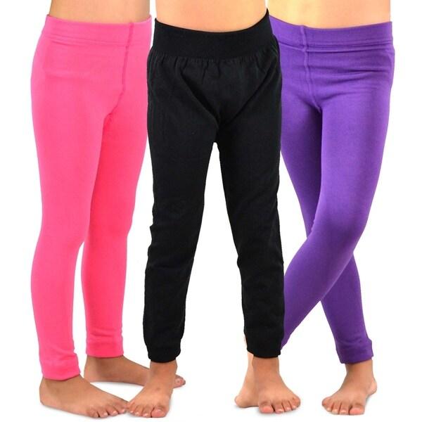 TeeHee Kids Girls Fleece Inner Brushed Leggings 3 Pack (Pink-Purple-Black)