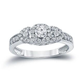 Auriya 14k White Gold 1/2ct TDW 3-Stone Diamond Engagement Ring (H-I, I1-I2)