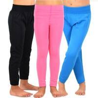 TeeHee Kids Girls Fleece Inner Brushed Leggings 3 Pack (Lt.Pink-Turquoise-Black)