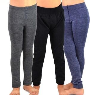 TeeHee Kids Girls Fleece Inner Brushed Leggings 3 Pack (Grey_Navy_Black)
