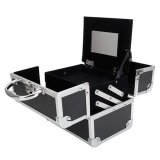 Diamond Texture Aluminum Makeup Storage Case with Mirror & Key