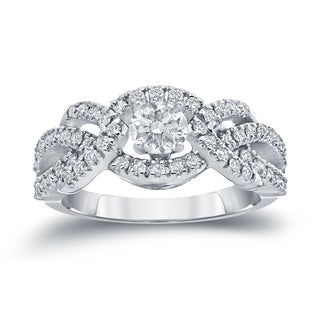 Auriya 14k White Gold 1ct TDW Halo Diamond Engagement Ring (H-I, I1-I2)