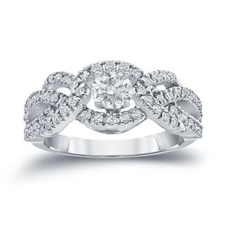 Auriya 14k White Gold 1ct TDW Halo Diamond Engagement Ring (H-I, I1-I2)